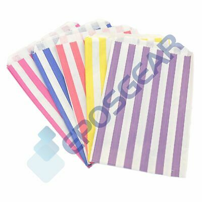"""50 5"""" x 7"""" Mixed Colour Candy Stripe Paper Sweet Gift Shop Kraft Party Bags"""