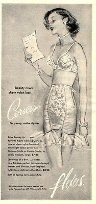 1952 Flexees PRINT AD Strapless Corsees Girdle and Bra