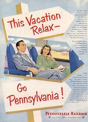 1952 Pennsylvania Railroad  Couple Relaxing in Coach PRINT AD