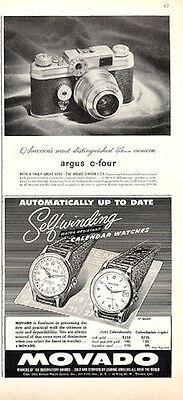 1952 Argus c-four Camera  & Movado Self-Winding Watch TWO Great Vintage PRINT AD