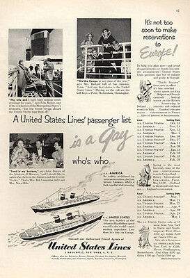 1952 United States Lines Cruise Ship Europe SS America SS United States PRINT AD