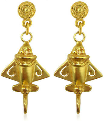 24k Gold Plated Ancient Aliens Aircraft/Golden Jet /Gold Flyer Dangle Earrings