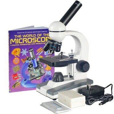 AmScope 40X-1000X Biological Science Compound Microscope w 25pc Slide Collection