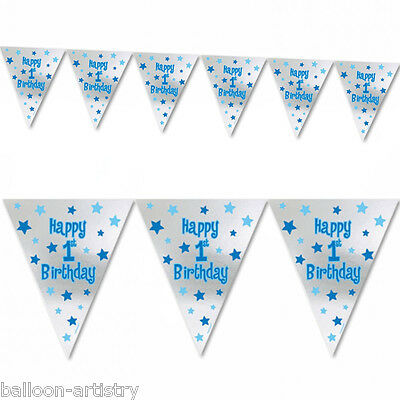 Boy's Blue & Silver Happy 1st Birthday Pennant Banner Decoration