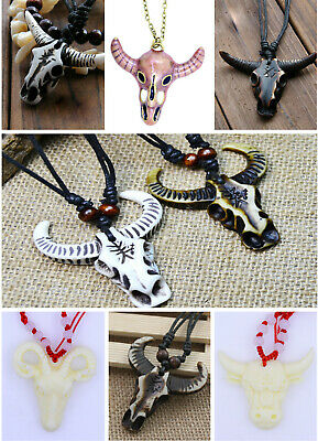 Vintage retro antique style ram / goat / bull head skull aries zodiac necklace