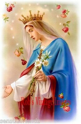 Blessed Mother Virgin Mary Fairest Of The Flowers Virgen María Poster