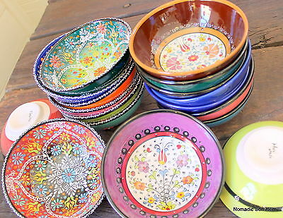 Turkish ceramic bowls - 16cm - colourful, handmade, hand painted -Ottoman floral