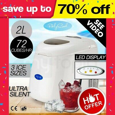 NEW Portable Ice Cube Maker Machine 2L PolyCool Automatic Quick Home Fast Tray