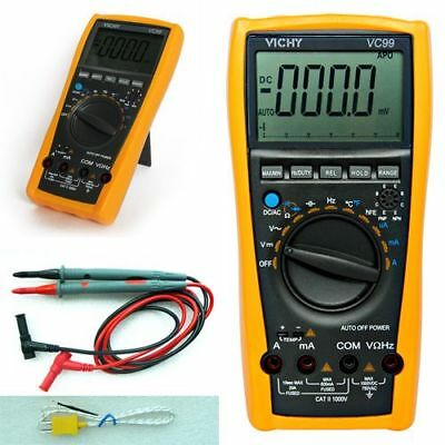 VC99 Multimeter Digital Auto Range Voltmeter Thermometer Resistance AC DC w/Bag