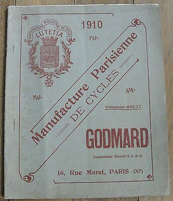 CYCLES GODMARD rue Moret Paris XIè rare catalogue illustré 1910