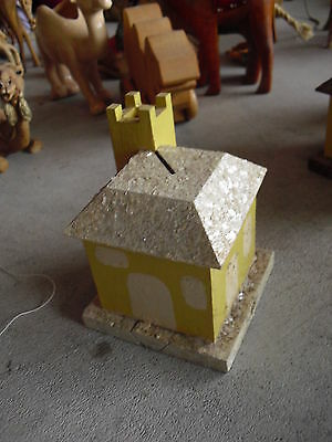 Vintage 1930s  Wood Handmade Yellow and White House Building Bank  LOOK