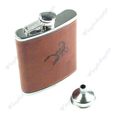 NEW 7oz Stainless Steel Faux Wrap Leather Liquor Alcohol Drink Flask Hip Funnel