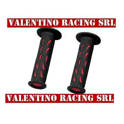 COPPIA MANOPOLE PRO GRIP forate NERO ROSSE MOTO SCOOTER 122 MM D 22/25