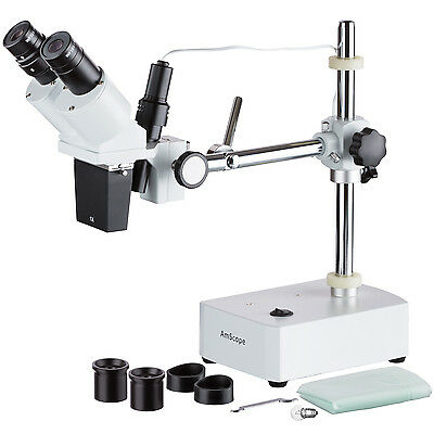 AmScope SE400X 5X-10X Binocular Boom Arm Stereo Microscope + Light