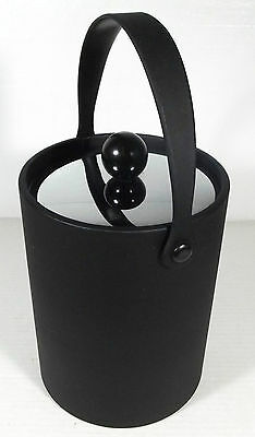 "Vintage Retro Kraftware 10"" Black Vinyl Like Ice Bucket W/Chrome Lid Barware"
