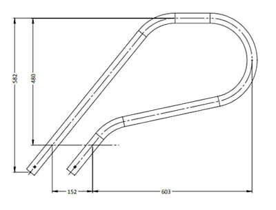G2 Flanged Grab Rails (Pair) Stainless Steel Hand Rail For Swimming Pools