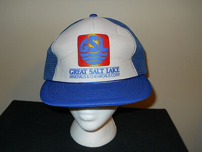 VTG-1980s Great Salt Lake Minerals and Chemicals Corp hat -UTAH skiing sku7