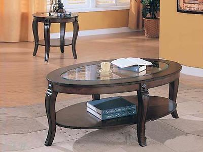 NEW 2PC TIVERTON GLASS WALNUT WOOD COFFEE END TABLE SET