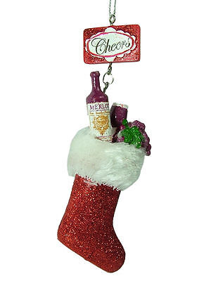 New Red Wine Stocking Bottle Merlot Alcohol Midwest Christmas Tree Ornament