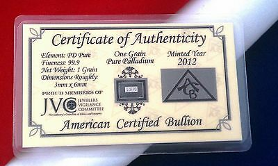 PD SOLID Palladium BULLION ACB MINTED 1GRAIN BAR 99.9 Pure W/COA Very RARE Bar +