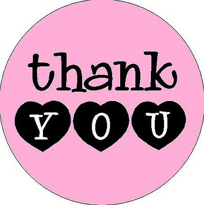"THANK YOU STICKER - Pink  w/Hearts -1"" Round Stickers"