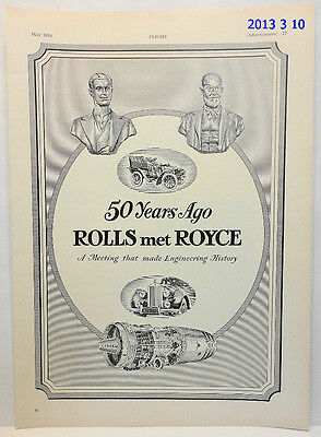 Ancienne Pub Aviation 1954 / Rolls-Royce 50 Years Ago / Advert Aircraft Print Ad