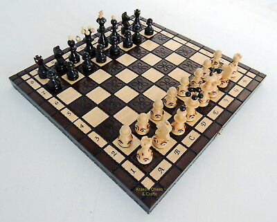 BRAND NEW HAND CRAFTED BROWN WOODEN CHESS SET 34x34cm