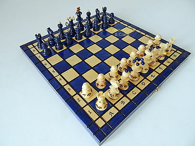 BRAND NEW BLUE HAND CRAFTED WOODEN CHESS SET 34x34cm