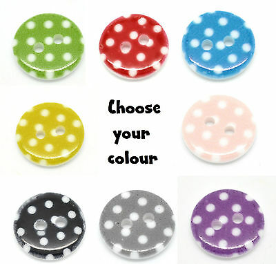 10 Polka Dot 15mm Two Hole Buttons For Sewing Card Making Craft CHOICE COLOURS
