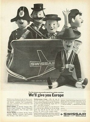 1961 SwissAir Airlines Marionettes Fren Various areas PRINT AD