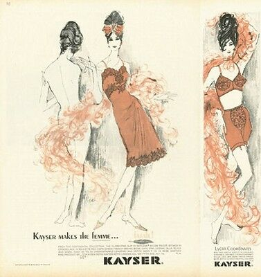 1961 Kayser Fashion Femme...Fatale Continental Collection  ART PRINT AD