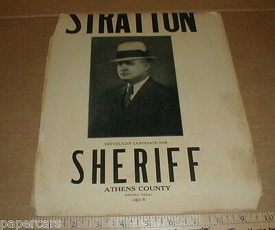 Athens County OH Ohio Sheriff Charles Stratton Vintage Rare Election Poster 1937