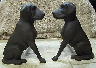 Antique Cast Iron Labrador Dog Andirons ornate figural fire dogs Liberty StLouis