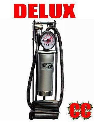 Car / bike foot pump Delux HEAVY DUTY HIGH POWER bicycle SINGLE piston barrel