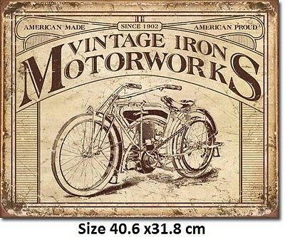 Vintage Iron Motorworks Motorcycle   Metal Tin Sign 1842 - Post Discounts