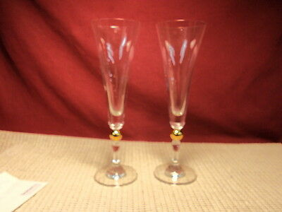 Home Essentials Crystal Pair of Gold Ball Stem Champagne Flutes