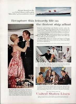 1961 United States Lines Cruise Ship Europe SS America PRINT AD