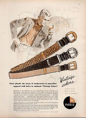 1961 Paris Fashion Belt Business Dress PRINT AD