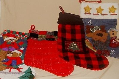4 EXTRA NICE PREOWNED CHRISTMAS STOCKINGS, QUILTED, APPLIQUED, NEEDLEPOINT OH-27