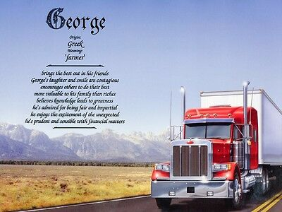 """""""Truck"""" Name Meaning Prints Personalized (Semi)"""