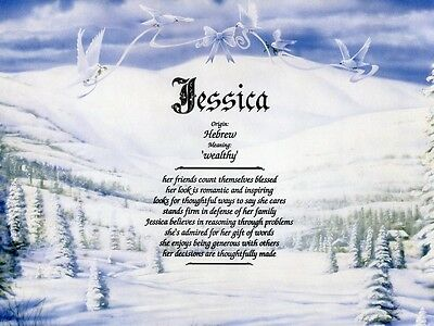 """Winter"" Name Meaning Prints Personalized (Nature, Snow, Doves)"