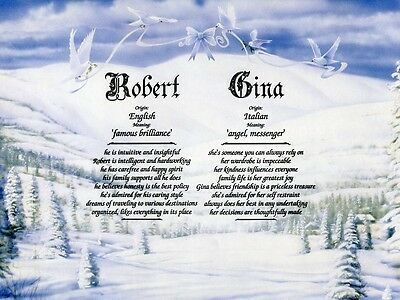 """Winter"" Double Name Meaning Print Personalized (Love, Romance, Doves)"