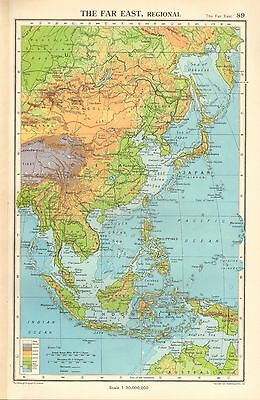 1952 MAP ~ THE FAR EAST PHYSICAL LAND & SEA DEPTHS INDONESIA CHINA MONGOLIA