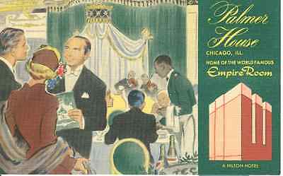Vintage Postcard - The Empire Room of the Palmer House - Chicago Hotel