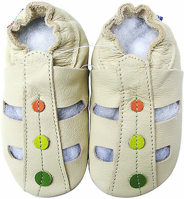 carozoo soft sole leather toddler sandals dots cream 2-3y