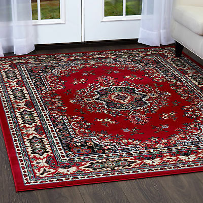 "PERSIAN BURGUNDY AREA RUG 6 X 8 ORIENTAL CARPET 69 - ACTUAL 5' 2""  x  7' 4"""