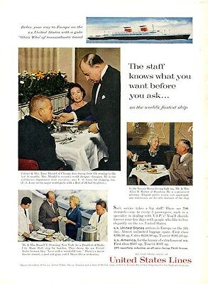 1961 United States Lines Cruise Ship to Europe PRINT AD