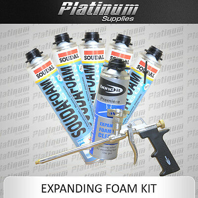 Pu Expanding Foam Kit-5 Soudal Cans 750Ml + Professional Gun + Gun Cleaner 500Ml