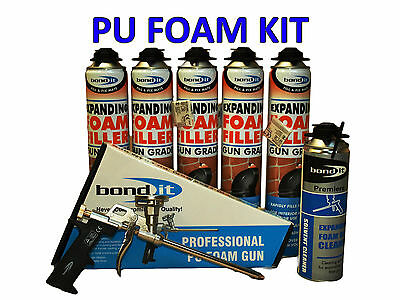 Pu Expanding Foam Kit - 5 Cans 750Ml + Professional Gun + Gun Cleaner 500Ml