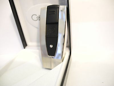 Colibri Torch Solitaire Series Lighter Brushed & Polished Silvertone New As-Is